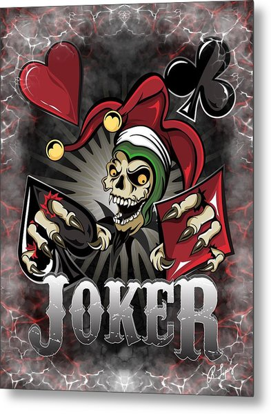 Joker Poker Skull Metal Print