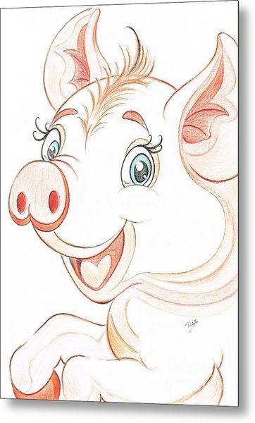 Jolly Miss Piggy Metal Print