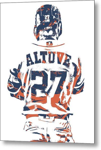 Jose Altuve Houston Astros Pixel Art 10 Metal Print