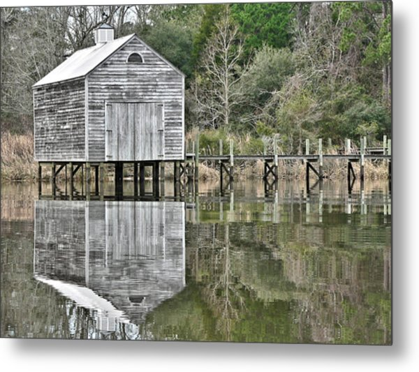 Jourdan River Boathouse Metal Print
