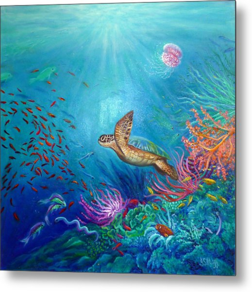 Journey Of The Greenback Turtle Metal Print by Janet Silkoff