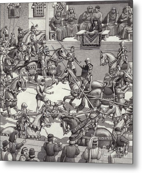 Jousting In Florence In The 15th Century Metal Print