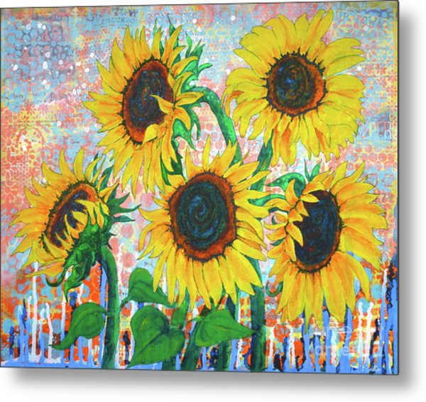 Joy Of Sunflowers Desiring Metal Print