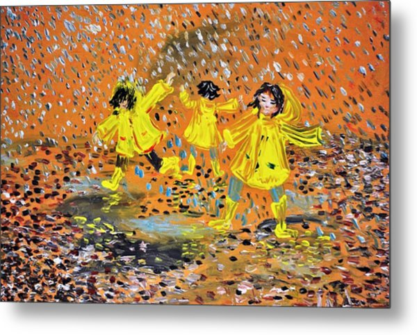 Jump In The Puddle Metal Print