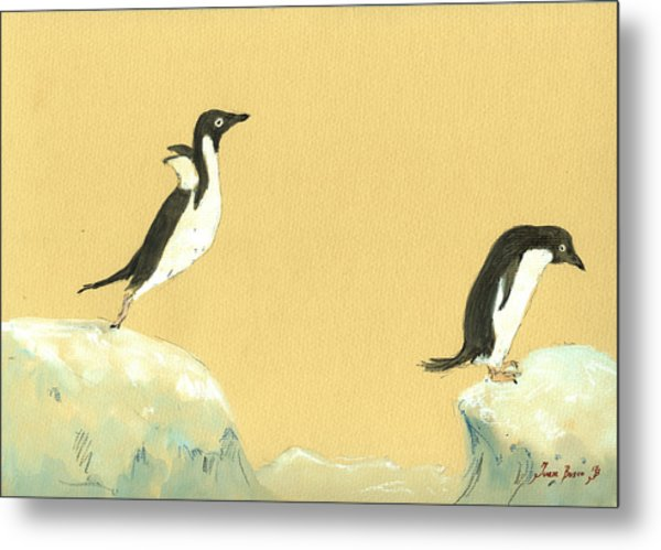 Jumping Penguins Metal Print