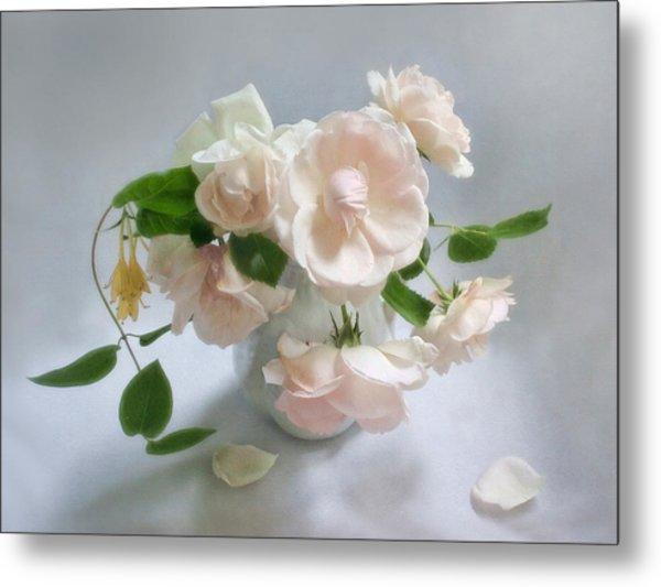 June Roses With Honeysuckle Metal Print