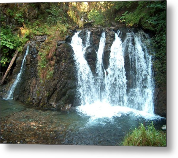 Juneau Waterfall Metal Print by Janet  Hall