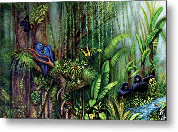 Metal Print featuring the painting Jungle Talk by Lynn Buettner