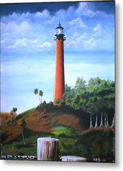 Jupiter Lighthouse And Pilings Metal Print