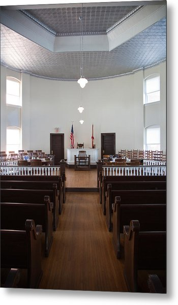Jury Box In A Courthouse, Old Metal Print