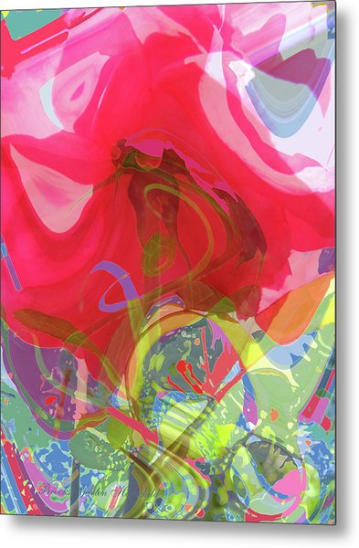 Just A Wild And Crazy Rose - Floral Abstract - Colorful Art Metal Print