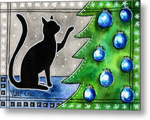 Just Counting Balls - Christmas Cat Metal Print