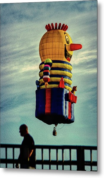 Just Passing Through  Hot Air Balloon Metal Print