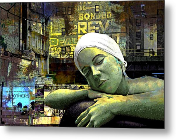 Just Swimming In New York City Metal Print by Jeff Burgess