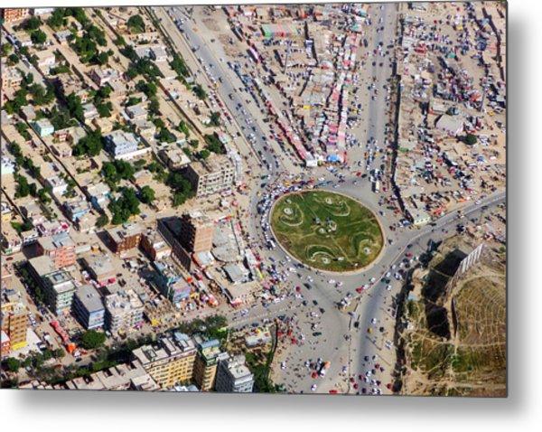 Kabul Traffic Circle Aerial Photo Metal Print