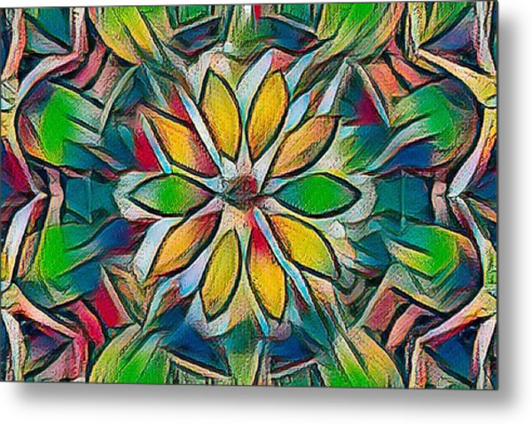 Kaleidoscope In Stained Glass Metal Print