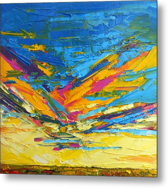 Kaleidoscope Sky At Sunset Modern Impressionistic Palette Knife Painting Metal Print