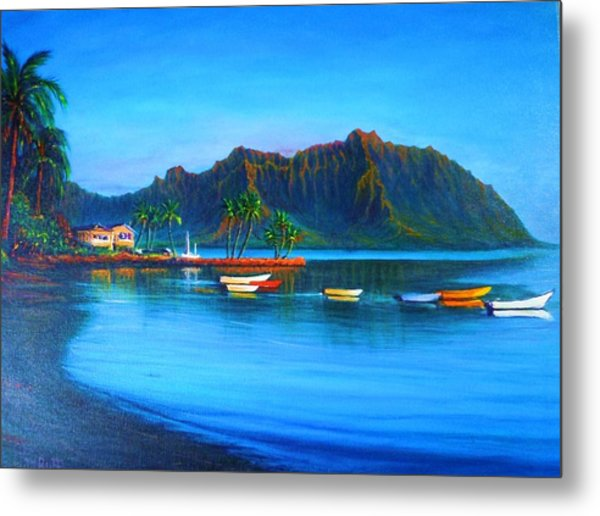 Kaneohe Bay - Early Morning Glass Metal Print