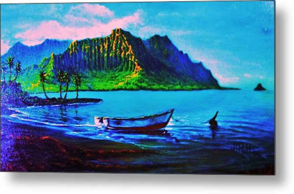 Kaneohe Bay Afternoon -with Skiff Metal Print