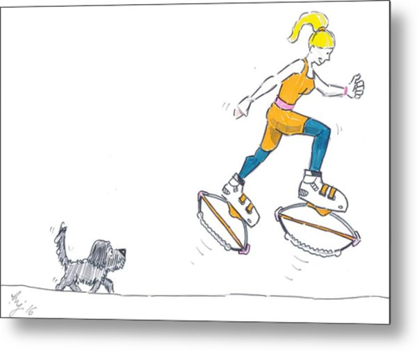 Kangoo Jumps Bouncy Shoes Walking The Dog Keep Fit Cartoon Metal Print