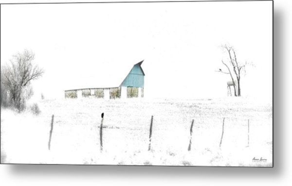 Kansas Blue Barn In Frozen Fog Metal Print