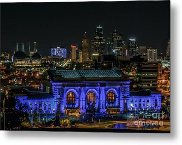 Kansas City In Royal Blue Metal Print