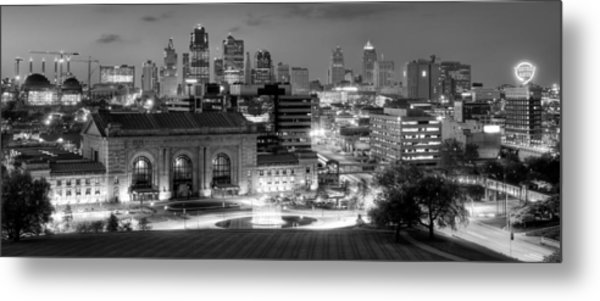 Kansas City Skyline Bw Metal Print