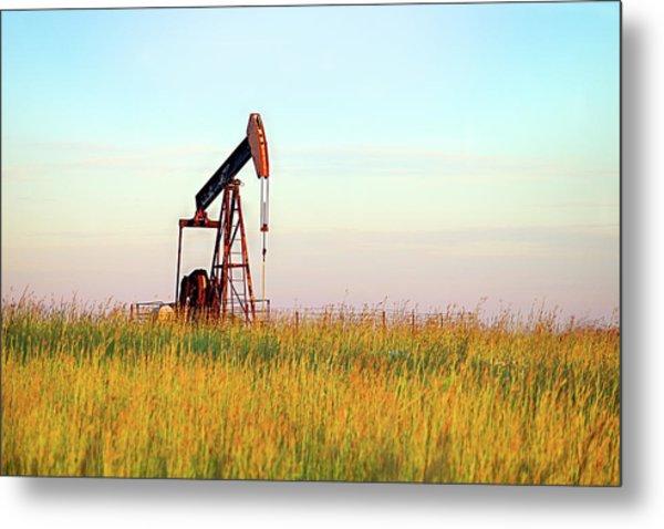Kansas Oil Production Metal Print by JC Findley