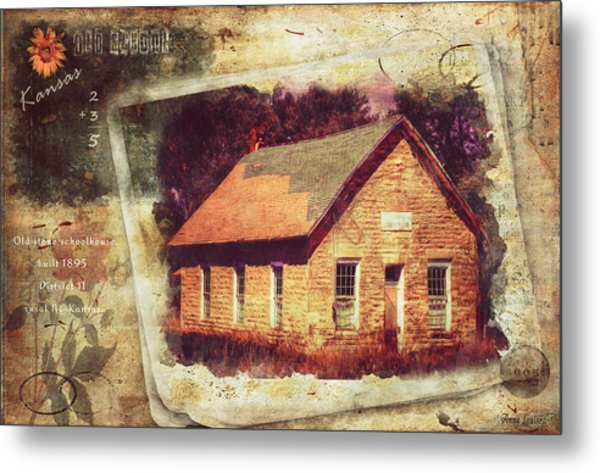 Kansas Old Stone Schoolhouse Metal Print