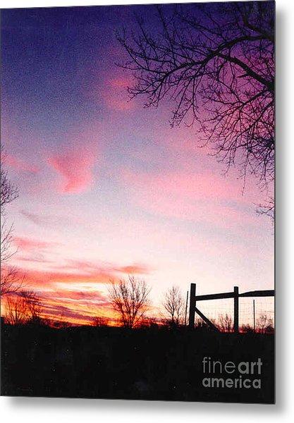 Kansas Sunrise With Fence Metal Print