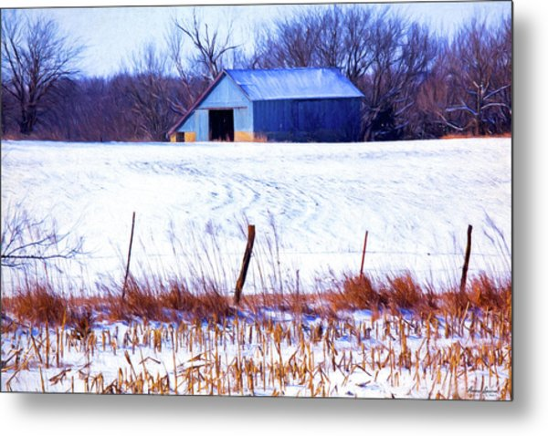 Kansas Winter Field Barn 1 Metal Print
