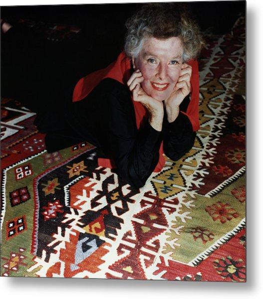 Katharine Hepburn Lying On Rug Metal Print