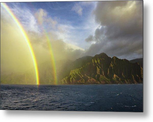 Kauai Sunset Rainbow Metal Print