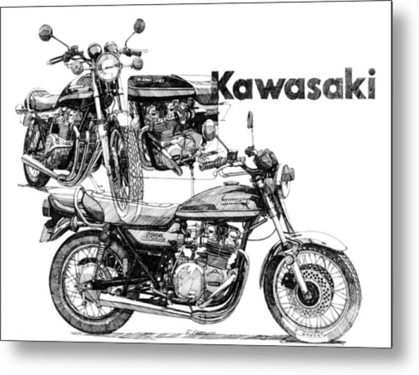 Kawasaki 900 Metal Print by Ron Patterson