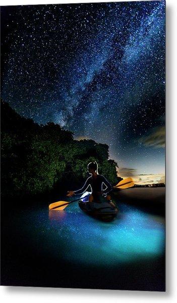 Kayak In The Biobay Under The Milky Way Metal Print by Karl Alexander