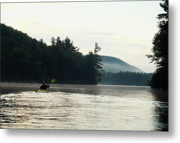 Kayak In The Fog Metal Print