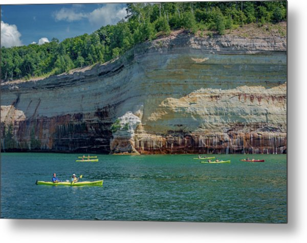 Kayaking The Pictured Rocks Metal Print