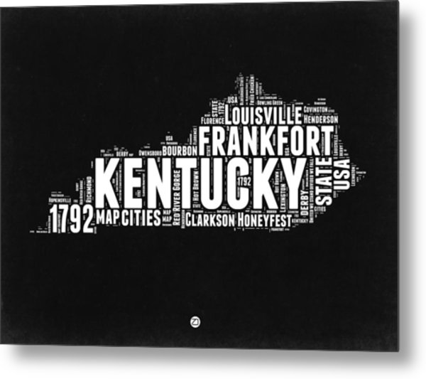 Kentucky Black And White Word Cloud Map Metal Print
