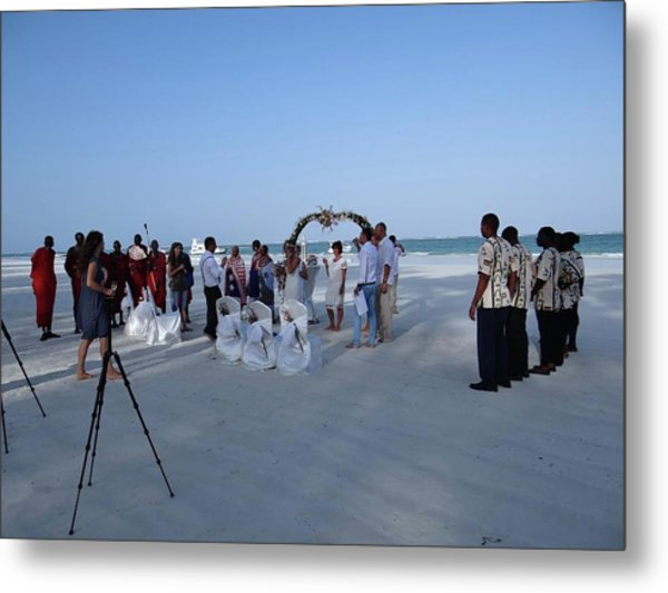 Kenya Wedding On Beach 2 With Maasai Metal Print