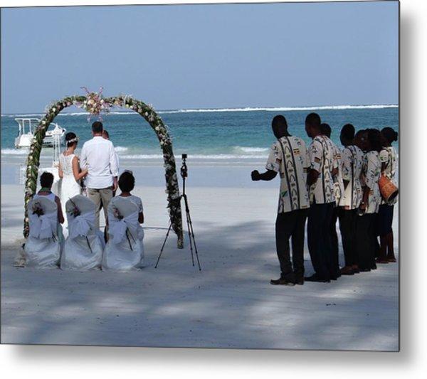 Kenya Wedding On Beach Happy Couple Metal Print