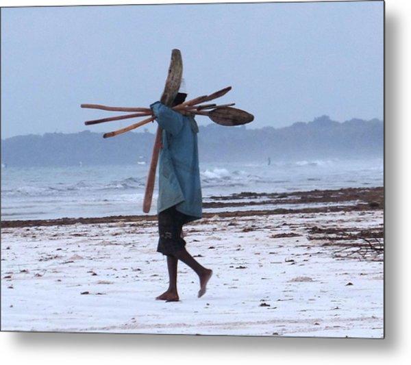 Kenyan Fisherman And Oars Metal Print
