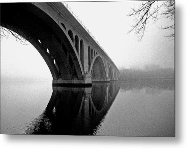 Key Bridge In Fog Metal Print