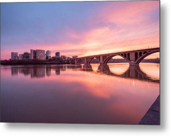 Key Bridge Sunset Metal Print by Michael Donahue