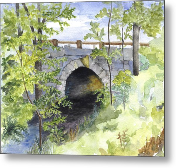 Keystone Bridge On Pemaquid River Metal Print by Peggy Bergey