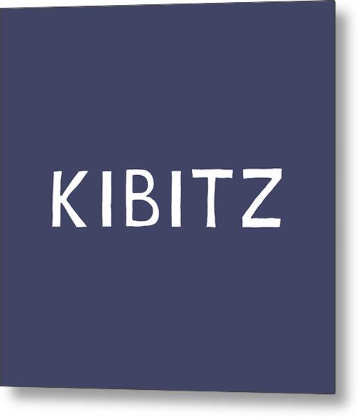 Kibitz In Navy And White- Art By Linda Woods Metal Print