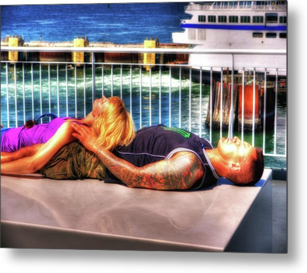 Kickin Back On The Ferry Metal Print