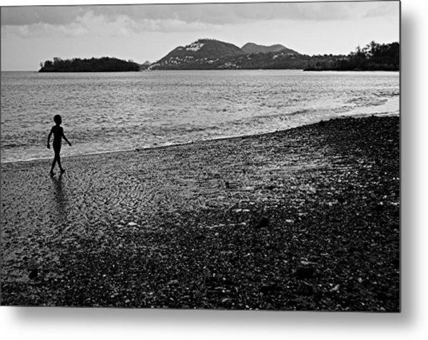 Kid On Beach-st Lucia Metal Print