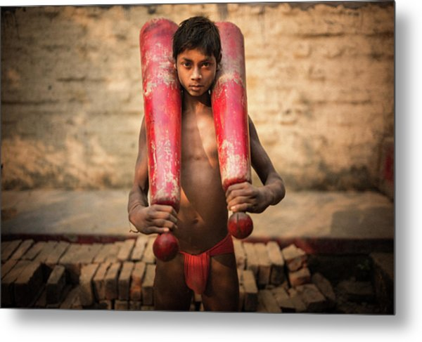 Kid With Bat Metal Print