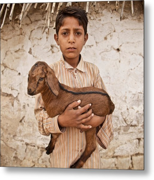 Kid With Goat Metal Print