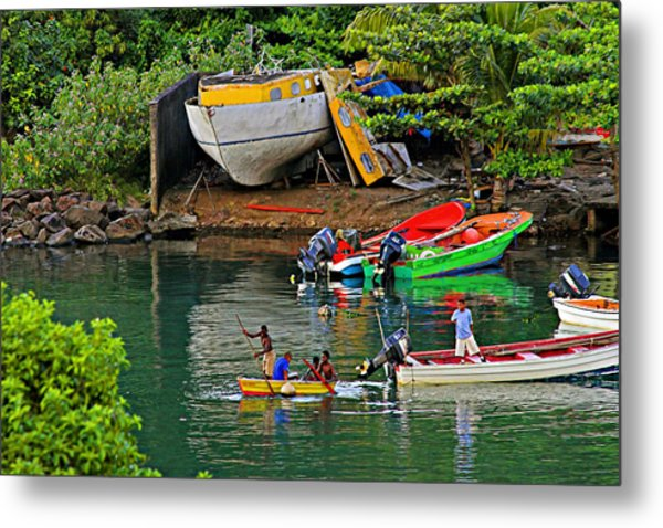 Kids At Play-st Lucia Metal Print